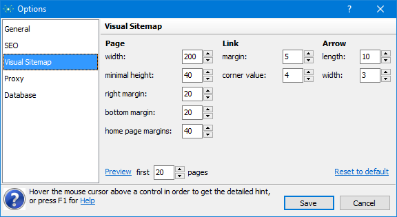 Visual Sitemap Options
